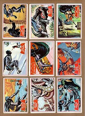 Complete Set of 1966 Topps Batman Trading Cards 44 Card Red Bat Set G+ Condition