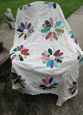 Antique Quilt Top Flowers Hand Made Sewn