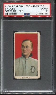 1909 T206 SWEET CAPORAL TY COBB RED PORTRAIT PSA 2 GOOD HOF 350-450/Fact. 42 OP