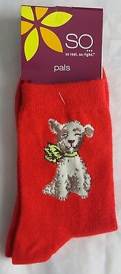 SO pals red socks size 4-10 with puppy dog design