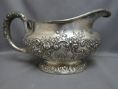 ANTIQUE STERLING SILVER GRAVY BOAT, SAUCE DISH, ROSES & SCROLLS  A424 by GORHAM