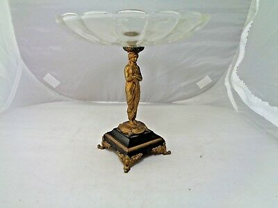 """Antique Brass Greek Athenian Figural Compote with Scalloped Glass Dish - 8-7/8"""""""