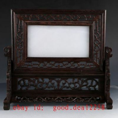 Chinese Wood Inlay Afghanistan Jade Carved Dragon Screen YPF03