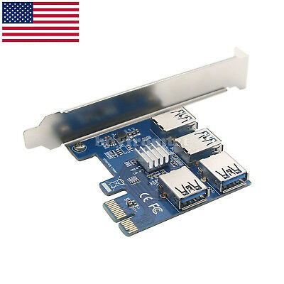 1 X 4 Slots PCI-E 1 to 4 PCI 16X Slot External Riser Card Adapter Board US