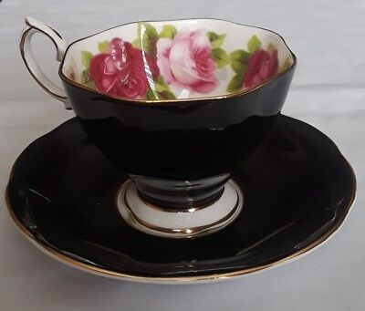Royal Albert Bone China England * Black Cup and Saucer with Pink & Red Roses