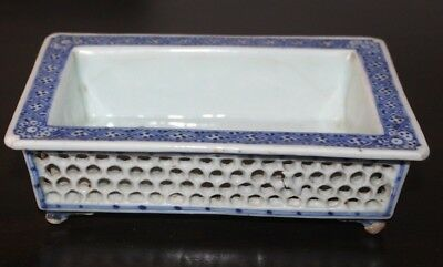 Antique Chinese Blue White Porcelain Ceramic Planter Reticulated 18th 19th Cent