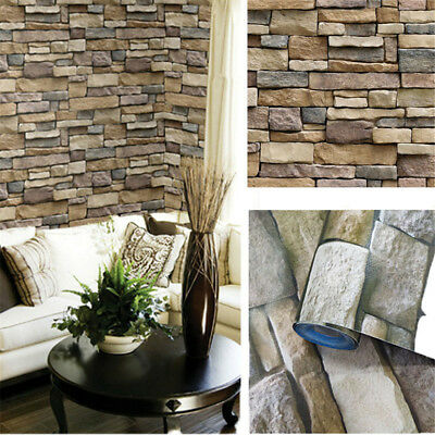 3D Wall Paper Brick Stone Rustic Effect Self-adhesive Wall Stickers House Decor