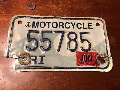 vintage Rhode Island  motorcycle license plate.