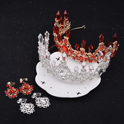 Queen Floral Red/White Rhinestone Crystal Tiara Bridal Prom Wedding Crown Set