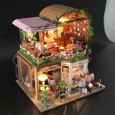 DIY Doll House Wooden Miniature Dollhouse With Furniture Kit Villa LED Lights