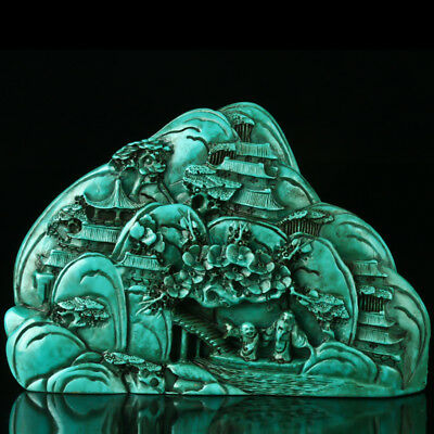 Chinese Turquoise Hand-carved Landscape Statue R4037+a
