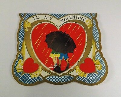 "Vintage 1940's Valentine Card Boy & Girl Under Umbrella in Rain 3 1/8"" x 3 3/4"""""