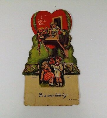 "Vintage 1940's Valentine Card Boy & Girl Under Treehouse Girl in Top 5"" x 2 3/4"""