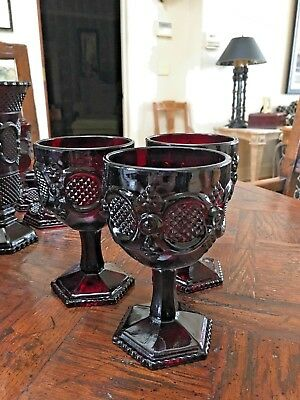 1876 Avon Cape Cod Cranberry Glass Footed Goblet - Set of 3