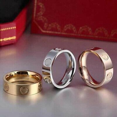 Unisex Love Ring Titanium Steel Men Women 6mm Design Gold Filled Screw size 5-11