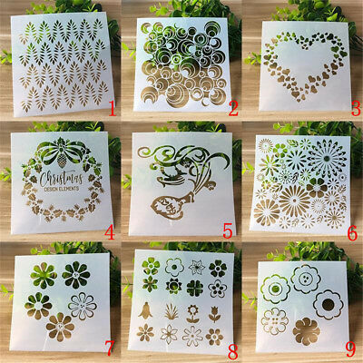 9pcs DIY Craft Xmas Layering Stencils Scrapbooking Stamp Album Decor Template