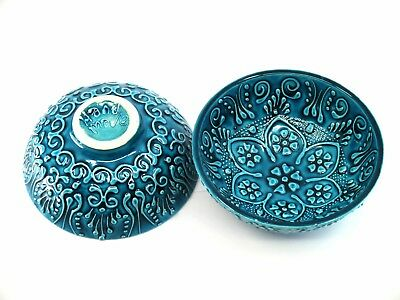 Turkish ceramic bowls - 12 & 16 cm, handmade, hand painted turquoise collection