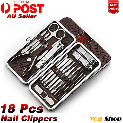 18Pcs Nail Clippers Kit Manicure Pedicure Set Grooming Beauty & Acne Remover