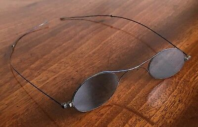 Pair Antique / Georgian Or Victorian Oval Steel Framed Sunglasses. Steampunk.