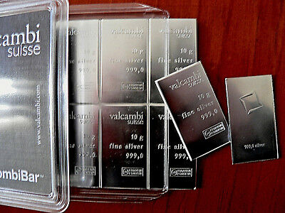 Valcambi Suisse 4x10gm .999 Silver CombiBar 1.3 Oz Total FREE POST TRACK & SIGN