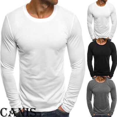 Men's Slim Fit O Neck Long Sleeve Sport Muscle Tee T-shirt Casual Tops Blouse CA