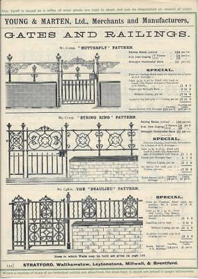 Vintage Architectural Advert Young and Marten Stratford - Cast Gates Railings