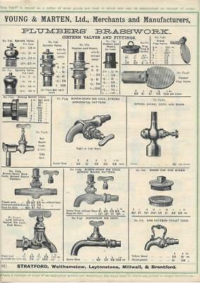 Vintage Architectural Advert Young and Marten Stratford - Plumbers Brasswork.