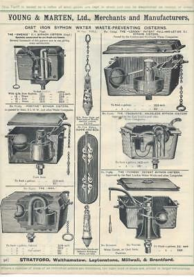 Vintage Architectural Advert Young and Marten Stratford - Cast Toilet Cisterns.
