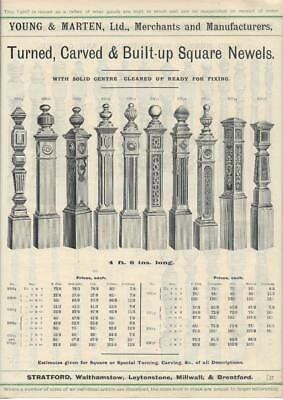 Vintage Architectural Advert Young and Marten Stratford - Carved Newel Posts.