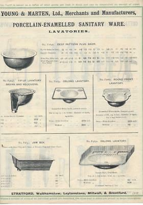 Vintage Architectural Advert Young and Marten Stratford  Porcelain Sanitary Ware