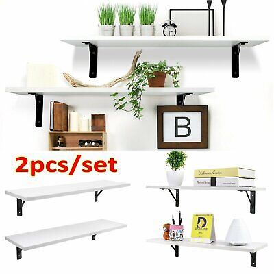 2pcs Wall Mounted Book Shelf White Wooden Storage Rack Potted Display Bracket AU