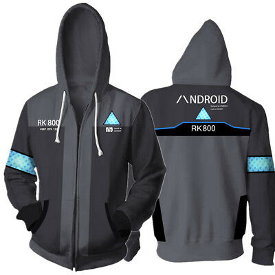 Detroit Become Human Connor Hoodie Sweater Zipper Coat Cosplay Costume Jacket UK