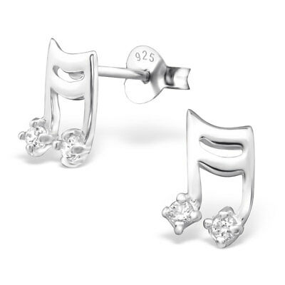 925 Sterling Silver Music Note with Crystal Cubic Zirconia Stud Earrings