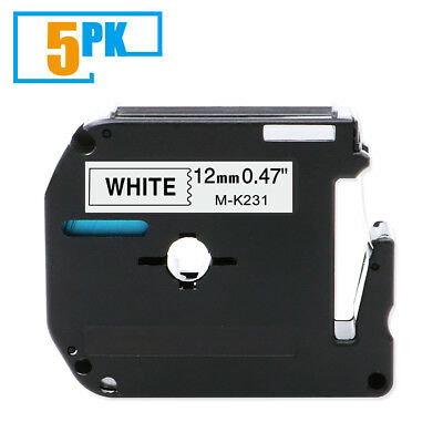 M-K231 MK-231 Compatible for Brother P-touch PT-65 Label Tape Ribbon 12 mm 5PK