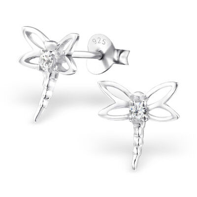 925 Sterling Silver Dragonfly with Crystal Cubic Zirconia Stud Earrings