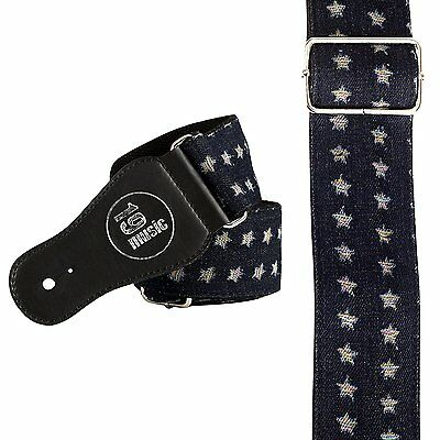 DARKER BLUE with STARS Deluxe Denim Guitar Strap acoustic electric Fashion hip