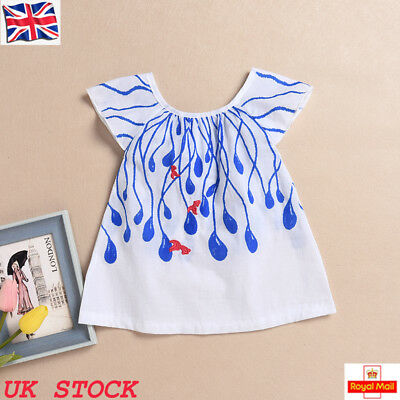 UK Baby Girls Toddler Short Sleeve Cotton Top Shirt Casual Summer Clothes Blouse