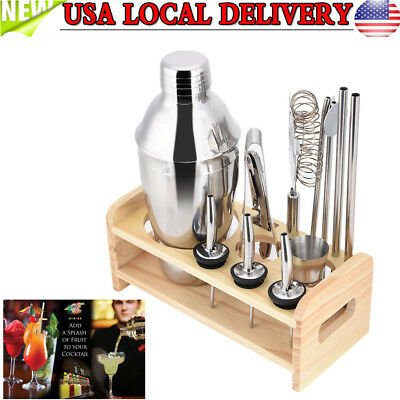 13PCS Stainless Steel Cocktail Shaker Mixer Drink Bartender Martini Bar Set Kit