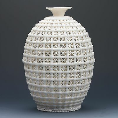 Chinese Dehua Porcelain Hand-carved  Hollowed Art White Vase G174+a