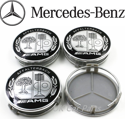 4 x Mercedes Benz AMG Affalterbach Alloy Wheels Centre Hub Caps 75mm Black