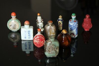 Lot 10 Antique Qing Chinese Various Snuff Bottle Asian Jade Statue Figurine