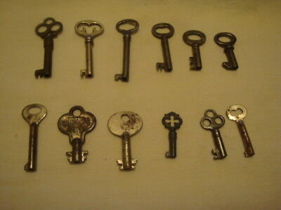 Antique Vintage Steampunk Lot Of 12 Assorted Furniture Chest Keys
