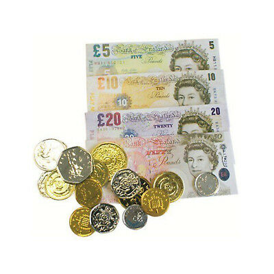 Childrens Kids Fake Pretend Money Role Play Shops Cash £ Pound Notes Coins Toy
