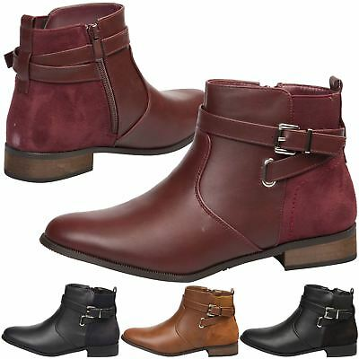 f6e05b14d463 New Womens Shoes Ladies Ankle Boots Low Heel Buckle Detail Work Casual Style