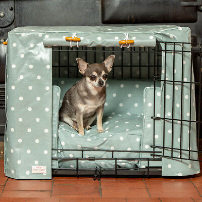 Lords & Labradors Duck Egg Spot Oilcloth Dog Crate Cover