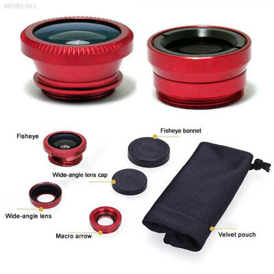 BD65 Universal 3 In 1 Clip On Fish Eye Wide Angle Macro Lens For Mobile Phone