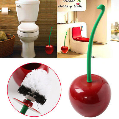 4C7E Cherry Shape Cleaning Toilet Brush Bathroom Supply Tool Gadget Wine Red