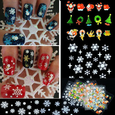 BF42 New 12 Sheets Snowflake 3D Nail Art Stickers Decal DIY Christmas Gift