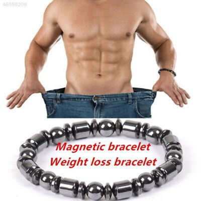 2D47 1pc Weight Loss Round Black Stone Magnetic Therapy Bracelet Health Hot^