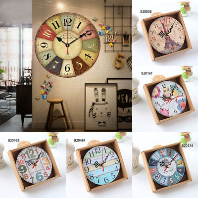 Wood Retro Clock Wall Diner Vintage Home Office Analogue Dining Room Battery 12